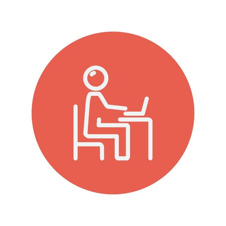connectivity: Businessman and laptop thin line icon for web and mobile minimalistic flat design. Vector white icon inside the red circle.