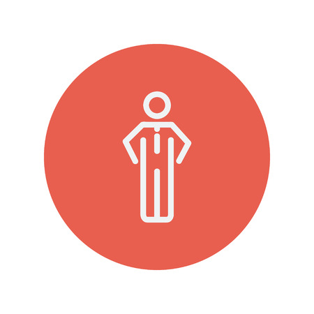 Man standing thin line icon for web and mobile minimalistic flat design. Vector white icon inside the red circle.