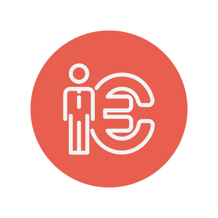 la union hace la fuerza: Man standing beside the Euro symbol thin line icon for web and mobile minimalistic flat design. Vector white icon inside the red circle.