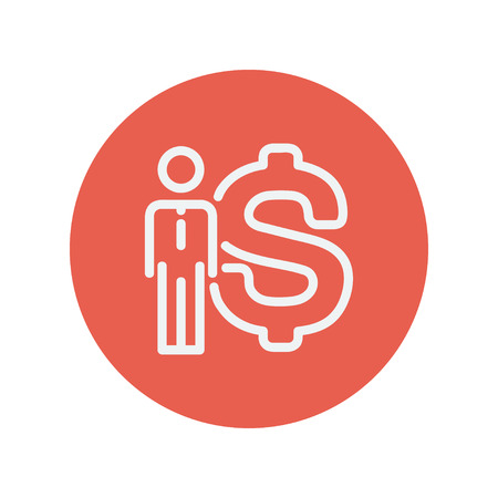 financial advisors: Man standing beside the Euro symbol thin line icon for web and mobile minimalistic flat design. Vector white icon inside the red circle.