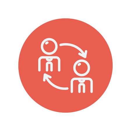 exchanging: Two men in exchanging arrow thin line icon for web and mobile minimalistic flat design. Vector white icon inside the red circle.