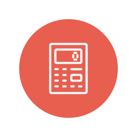 Calculator thin line icon for web and mobile minimalistic flat design. Vector white icon inside the red circle.