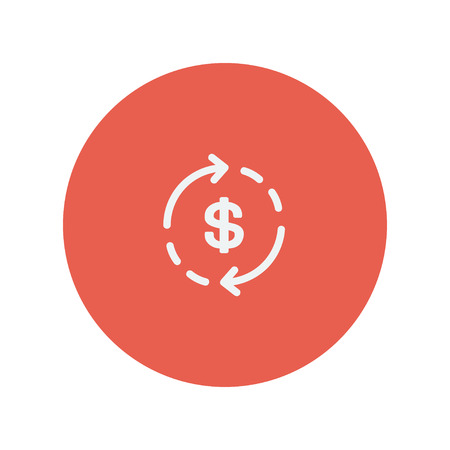 refresh rate: Money dollar symbol with arrow thin line icon for web and mobile minimalistic flat design. Vector white icon inside the red circle.