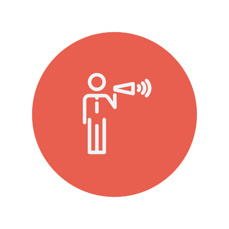 noisiness: Man with megaphone thin line icon for web and mobile minimalistic flat design. Vector white icon inside the red circle.