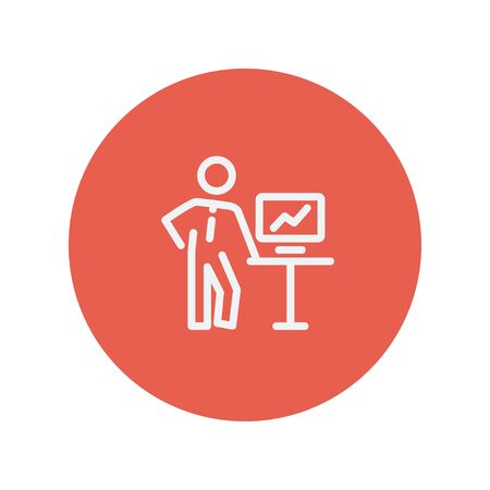 person shined: Business presentation thin line icon for web and mobile minimalistic flat design. Vector white icon inside the red circle.