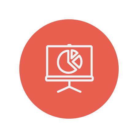 progressive art: Roller screen with pie graph thin line icon for web and mobile minimalistic flat design. Vector white icon inside the red circle.