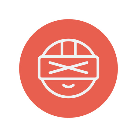 Virtual reality headset thin line icon for web and mobile minimalistic flat design. Vector white icon inside the red circle.