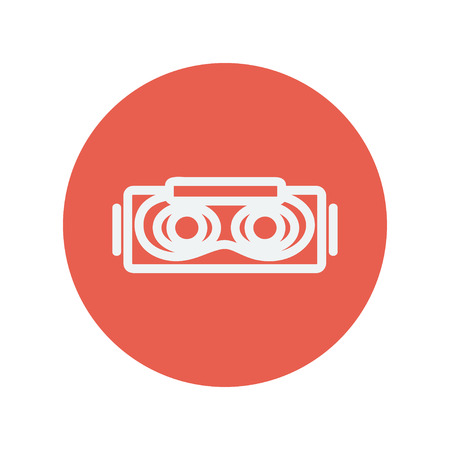 Virtual reality mask thin line icon for web and mobile minimalistic flat design. Vector white icon inside the red circle. Stock Vector - 42340486