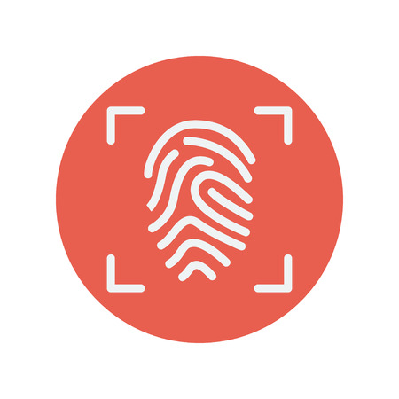 Fingerprint scanning thin line icon for web and mobile minimalistic flat design. Vector white icon inside the red circle.