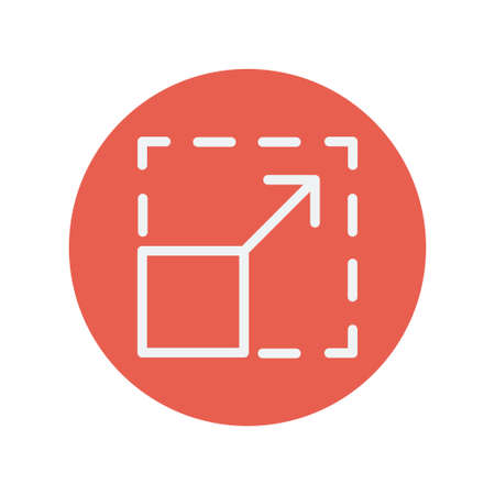 responsive design: Responsive design thin line icon for web and mobile minimalistic flat design. Vector white icon inside the red circle. Illustration