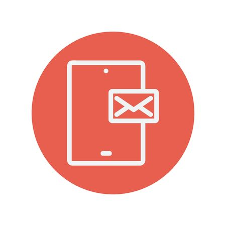 minimalistic: Smartphone message thin line icon for web and mobile minimalistic flat design. Vector white icon inside the red circle.