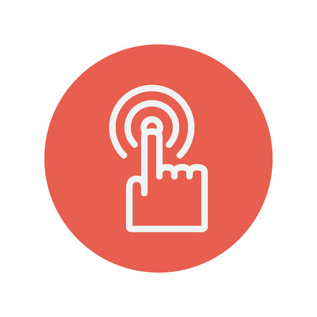 minimalistic: Finger pressing circles thin line icon for web and mobile minimalistic flat design. Vector white icon inside the red circle.