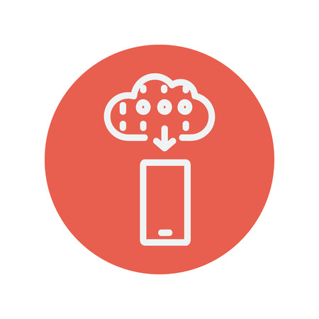 touch sensitive: Mobile phone with weather forecast thin line icon for web and mobile minimalistic flat design. Vector white icon inside the red circle.