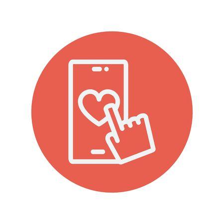 Mobiltelefon mit Herz dünne Linie Symbol für Web und mobile minimalistisch flache Bauweise. Vektor-Schaltflächen innerhalb des roten Kreises. Standard-Bild - 42340592