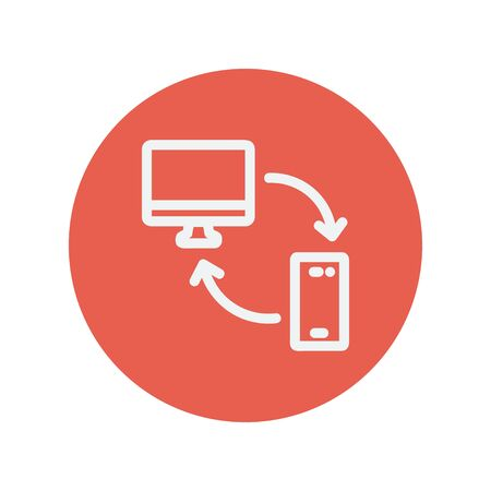 mobile device: Computer, mobile device and network connection thin line icon for web and mobile minimalistic flat design. Vector white icon inside the red circle.