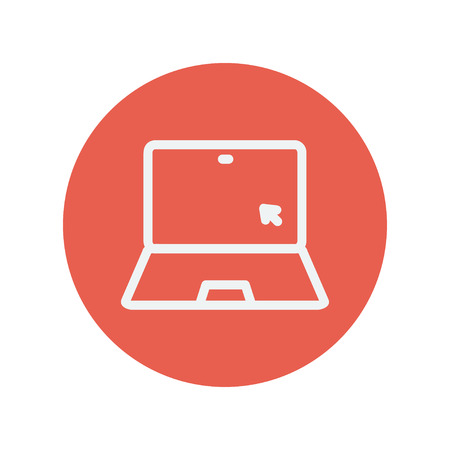 minimalistic: Laptop and cursor thin line icon for web and mobile minimalistic flat design. Vector white icon inside the red circle.