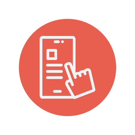 smartphone hand: Smartphone and hand checking of work task schedule thin line icon for web and mobile minimalistic flat design. Vector white icon inside the red circle. Illustration