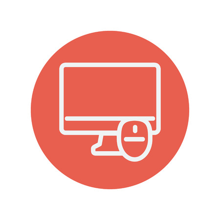 lcd display: Monitor and computer mouse thin line icon for web and mobile minimalistic flat design. Vector white icon inside the red circle. Illustration