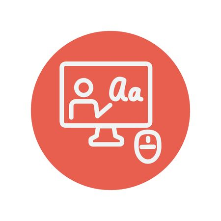 users video: Laptop and mouse in online tutorial thin line icon for web and mobile minimalistic flat design. Vector white icon inside the red circle.
