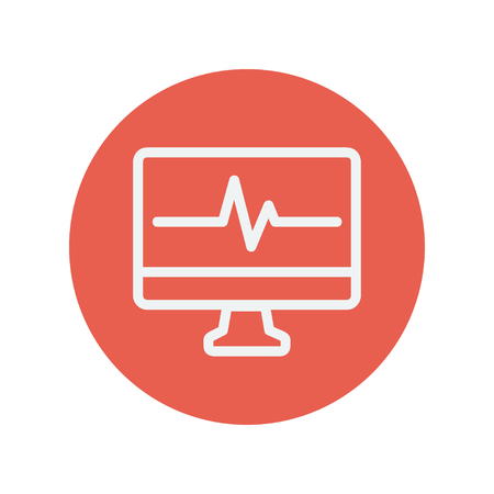 taking pulse: Heartbeat display in monitor thin line icon for web and mobile minimalistic flat design. Vector white icon inside the red circle.
