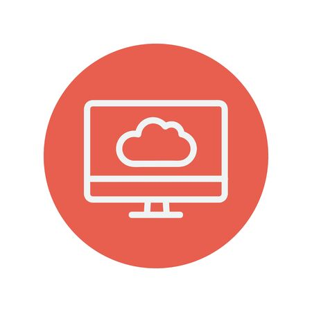 Monitor with cloud thin line icon for web and mobile minimalistic flat design. Vector white icon inside the red circle.