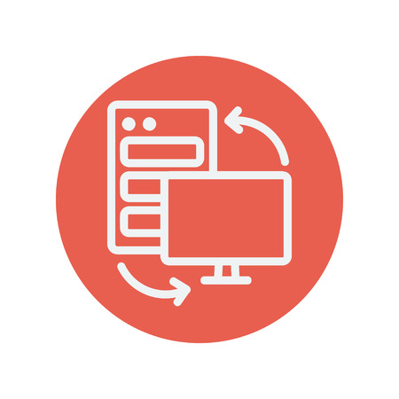 Personal computer set CPU thin line icon for web and mobile minimalistic flat design. Vector white icon inside the red circle.