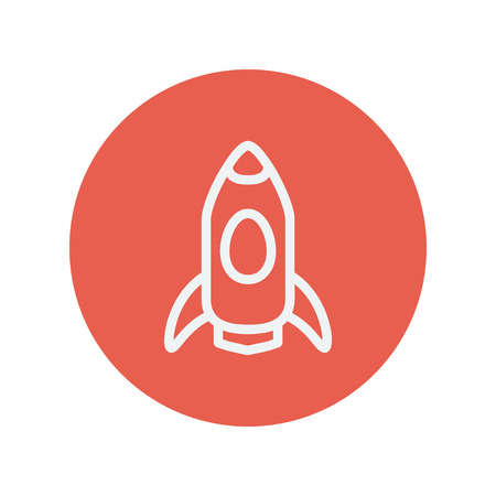 beginnings: Business start-up thin line icon for web and mobile minimalistic flat design. Vector white icon inside the red circle.