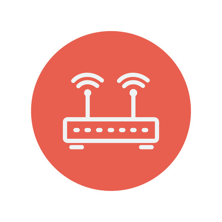 wireless icon: Wireless router thin line icon for web and mobile minimalistic flat design. Vector white icon inside the red circle. Illustration