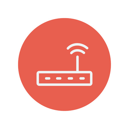 Wifi router modem thin line icon for web and mobile minimalistic flat design. Vector white icon inside the red circle.