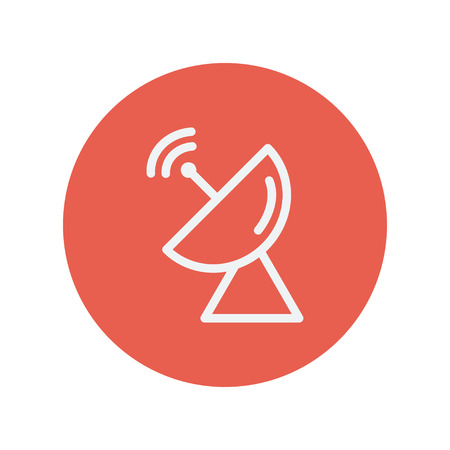 satellite transmitter: Radar satellite dish thin line icon for web and mobile minimalistic flat design. Vector white icon inside the red circle. Illustration