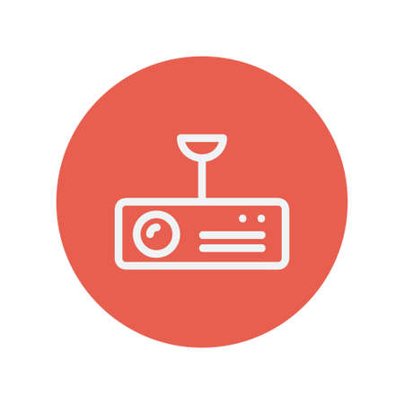 Vintage radio with analog dials and antenna thin line icon for web and mobile minimalistic flat design. Vector white icon inside the red circle. Illustration