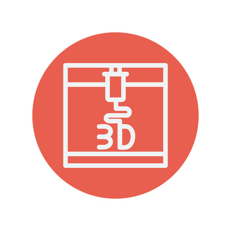 3D printer thin line icon for web and mobile minimalistic flat design. Vector white icon inside the red circle.