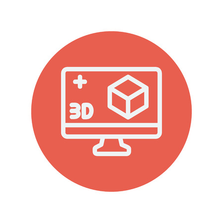 Computer monitor with 3D box thin line icon for web and mobile minimalistic flat design. Vector white icon inside the red circle. Иллюстрация