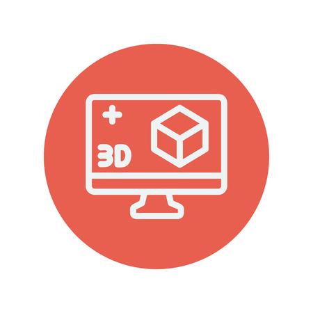 perspectiva lineal: Monitor del ordenador con 3D caja icono de l�nea delgada para web y dise�o plano m�vil minimalista. Vector icono blanco dentro del c�rculo rojo.