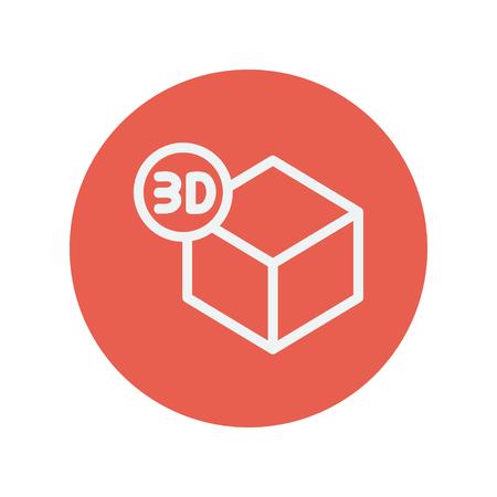 perspectiva lineal: 3D caja icono de l�nea delgada para web y dise�o plano m�vil minimalista. Vector icono blanco dentro del c�rculo rojo. Vectores