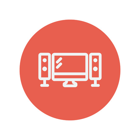 flat screen: Flat screen television with speaker thin line icon for web and mobile minimalistic flat design. Vector white icon inside the red circle.