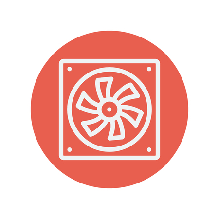 minimalistic: Computer cooler thin line icon for web and mobile minimalistic flat design. Vector white icon inside the red circle. Illustration