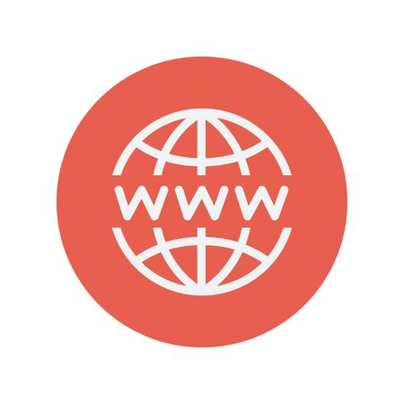 website: Globe with website design thin line icon for web and mobile minimalistic flat design. Vector white icon inside the red circle.