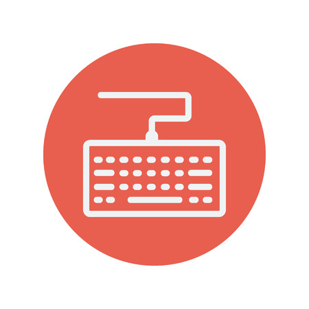put the key: Keyboard thin line icon for web and mobile minimalistic flat design. Vector white icon inside the red circle.