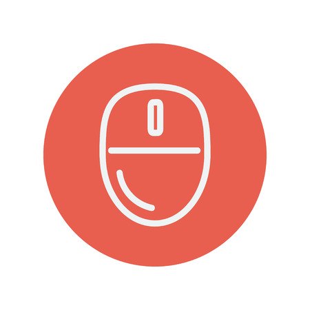 activate: Computer mouse thin line icon for web and mobile minimalistic flat design. Vector white icon inside the red circle.