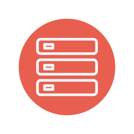 optical disk: Optical drive thin line icon for web and mobile minimalistic flat design. Vector white icon inside the red circle.
