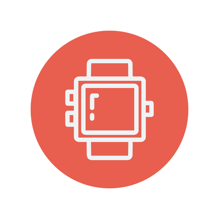 minimalistic: Blank smartwatch thin line icon for web and mobile minimalistic flat design. Vector white icon inside the red circle. Illustration
