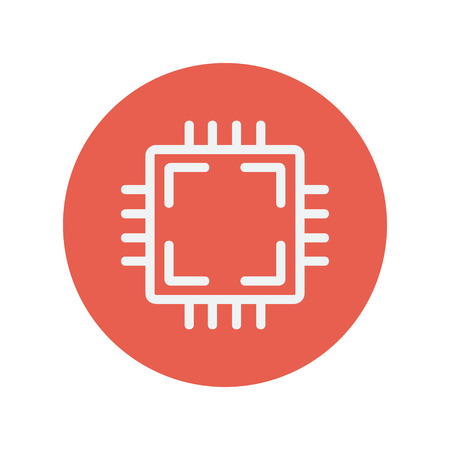 Circuit board thin line icon for web and mobile minimalistic flat design. Vector white icon inside the red circle. Çizim
