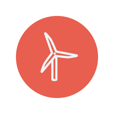 windfarm: Windmill thin line icon for web and mobile minimalistic flat design. Vector white icon inside the red circle.