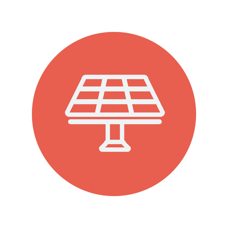 Lamp dunne lijn pictogram voor web en mobiele minimalistische platte design. Vector wit icoon in de rode cirkel. Stock Illustratie
