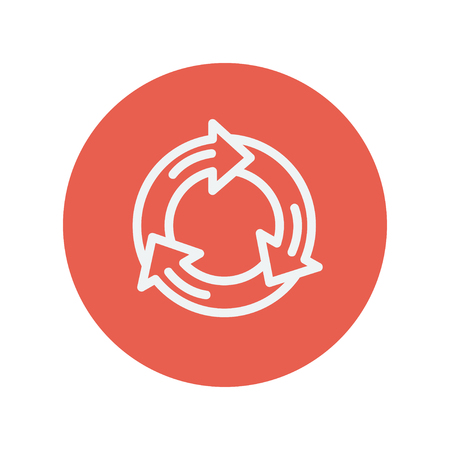 connectivity: Arrow circle thin line icon for web and mobile minimalistic flat design. Vector white icon inside the red circle.
