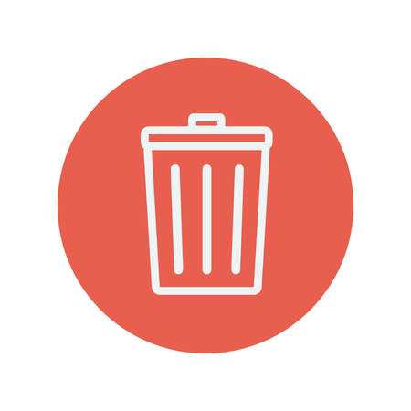Trash can thin line icon for web and mobile minimalistic flat design. Vector white icon inside the red circle.