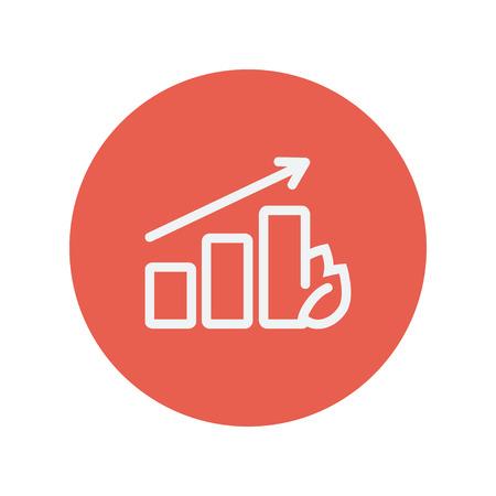 perspectiva lineal: Gráfico cada vez mayor icono de línea delgada para web y diseño plano móvil minimalista. Vector icono blanco dentro del círculo rojo.