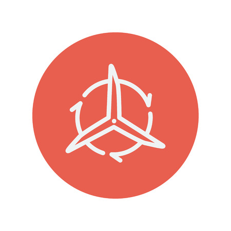 Windmill with arrow thin line icon for web and mobile minimalistic flat design. Vector white icon inside the red circle.