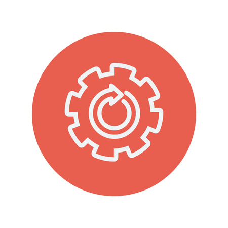 red line: Gear wheel with arrow thin line icon for web and mobile minimalistic flat design. Vector white icon inside the red circle.